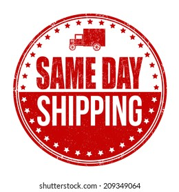 Same day shipping grunge rubber stamp on white, vector illustration