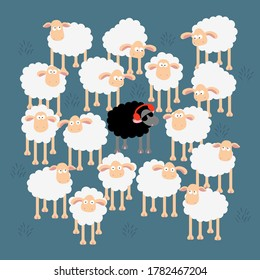 Same but different. A chilling black sheep ,listening music, wearing a red sunglasses In a flock of white sheep. Hand drawn vector illustration on blue background.