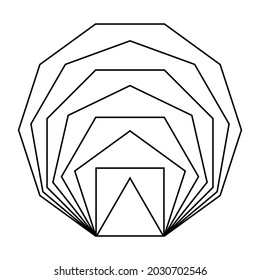 Same line segment length polygons, placed inside each other. Regular, convex, equiangular and equilateral polygons. From triangle, square, pentagon, hexagon to heptagon, octagon, nonagon and decagon.
