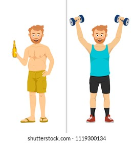 The same man before and after standing with bottle of beer and dumbbells. From fat to slim concept