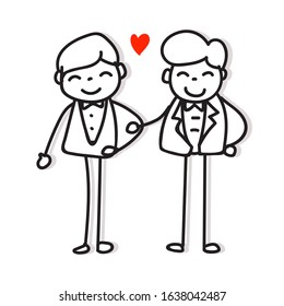 same sex couple lgbt love hand drawing cartoon character gay pride concept for valentines day