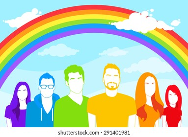 Same Sex Group of People Gay Man and Women Lesbian Colorful Silhouettes Icons Rainbow Vector Illustration