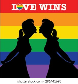 Same sex marriage. LOVE WINS vector illustration. Couple kissing.