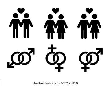 Same-sex couples flat icon. Sign same sex couples. Vector logo for web design, mobile and infographics. Vector illustration eps10. Isolated on white background.