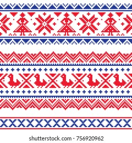Sami band or belrd vector design, Lapland cross-stitch vector pattern, folk art Scandinavian, Nordic style Retro patterns from Norway, Sweden, Finland, and the Murmansk Oblast of Russia