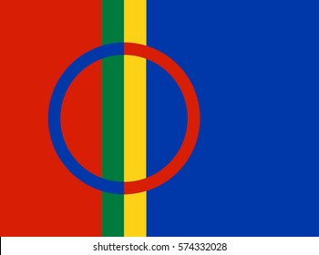 Sami people vector flag illustration. Finno Ugric people from Sweden and Norway territory.