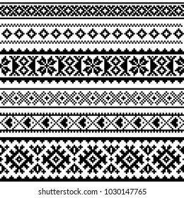Sami vector seamless pattern, Lapland folk art, traditional knitting and embroidery monochrome design. Sami people clothing patterns from Norway, Sweden, Finland, and the Murmansk Oblast of Russia
