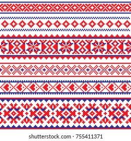 Sami vector seamless pattern, Lapland folk art, traditional knitting and embroidery design  Sami people clothing patterns from Norway, Sweden, Finland, and the Murmansk Oblast of Russia
