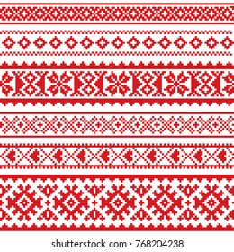 Sami vector seamless pattern, Lapland folk art, traditional knitting and embroidery design  Sami people clothing patterns from Norway, Sweden, Finland, and the Murmansk Oblast of Russia in red