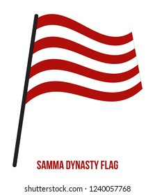 Samma Dynasty (1351–1524) Flag Waving Vector Illustration on White Background. The Samma Dynasty Was a Muslim Rajput Power On The Indian Subcontinent.