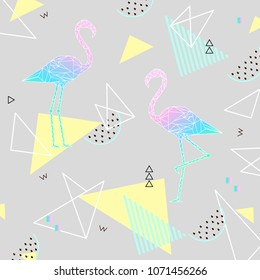 Sammer background. Punchy pastel. Trendy texture. Beautiful vector floral jungle summer background with pink flamingo, tropical fruits, palm leaf, vector