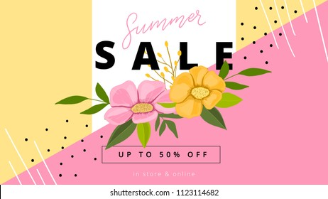 Sammer sale banner with flowers for special offer, promo. Summer background template.