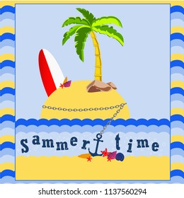 Sammer time sea surfing palm