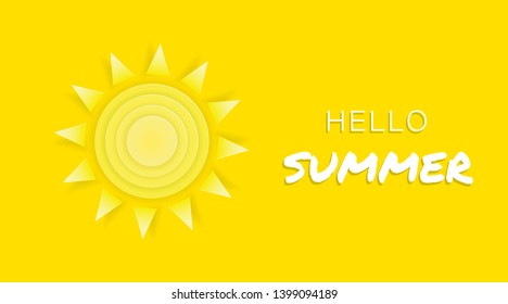Sammer time yellow background banner with text Hello Summer. Vector Illustration whith paper cut sun. Banner for sammer sale