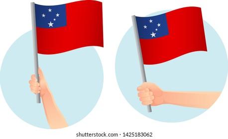 Samoa flag in hand. Patriotic background. National flag of Samoa vector illustration