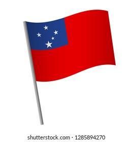Samoa flag icon. National flag of Samoa on a pole vector illustration.
