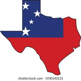Samoa Flag Texas Silhouette State Outline Vector