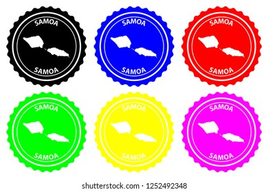Samoa island - rubber stamp - vector, Independent State of Samoa (Western Samoa) map pattern - sticker - black, blue, green, yellow, purple and red,