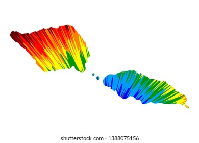 Samoa - map is designed rainbow abstract colorful pattern, Independent State of Samoa (Western Samoa) map made of color explosion,