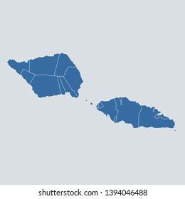 Samoa map on gray background vector, Samoa Map Outline Shape Blue on White Vector Illustration, High detailed Gray illustration map Samoa. Oceania map. Eps10.