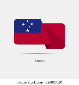 Samoa national flag on a white background with shadow. vector illustration