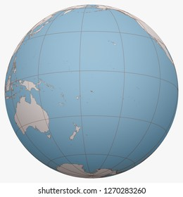 Samoa on the globe. Earth hemisphere centered at the location of the Independent State of Samoa. Western Samoa map.