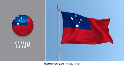 Samoa waving flag on flagpole and round icon vector illustration. Realistic 3d mockup of blue red and stars of Samoan flag and circle button