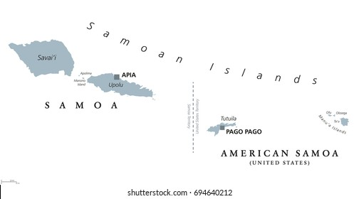 Samoan Islands political map with English labeling. Samoa and American Samoa. Archipelago in the central Pacific Ocean, part of Polynesia and Oceania. Gray illustration on white background. Vector.