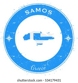 Samos circular patriotic badge. Grunge rubber stamp with island flag, map and the Samos written along circle border, vector illustration.