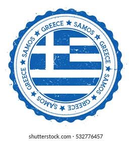 Samos flag badge. Grunge rubber stamp with Samos flag. Vintage travel stamp with circular text, stars and Samos flag inside it. Vector illustration.