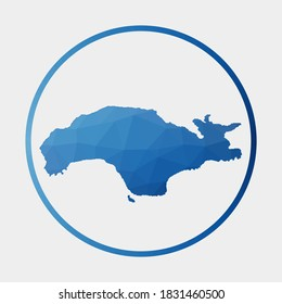 Samos icon. Polygonal map of the island in gradient ring. Round low poly Samos sign. Vector illustration.