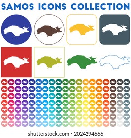 Samos icons collection. Bright colourful trendy map icons. Modern Samos badge with island map. Vector illustration.