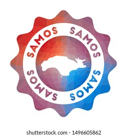 Samos low poly logo. Colorful gradient travel logo of the island in geometric style. Multicolored polygonal Samos rounded sign with map for your infographics.