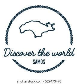 Samos Map Outline. Vintage Discover the World Rubber Stamp with Samos Map. Hipster Style Nautical Rubber Stamp, with Round Rope Border. Samos Map Vector Illustration.
