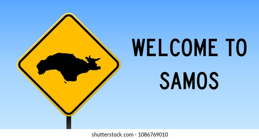 Samos map road sign. Wide poster with island outline on yellow rhomb signboard. Vector illustration.