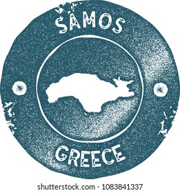 Samos map vintage blue stamp. Retro style handmade island label, badge or element for travel souvenirs. Vector illustration.