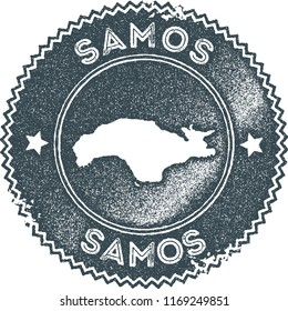 Samos map vintage dark blue stamp. Retro style handmade island label, badge or element for travel souvenirs. Vector illustration.