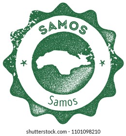Samos map vintage dark green stamp. Retro style handmade island label, badge or element for travel souvenirs. Vector illustration.