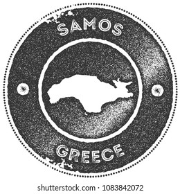 Samos map vintage dark grey stamp. Retro style handmade island label, badge or element for travel souvenirs. Vector illustration.