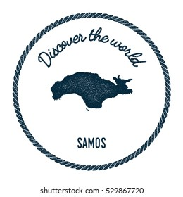 Samos map in vintage discover the world rubber stamp. Hipster style nautical postage Samos stamp, with round rope border. Samos map vector illustration.