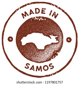 Samos map vintage red stamp. Retro style handmade island label, badge or element for travel souvenirs. Vector illustration.