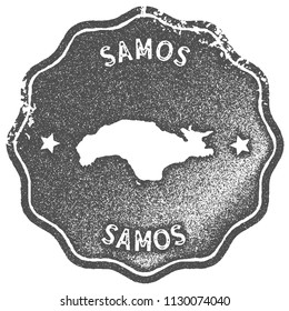 Samos map vintage stamp. Retro style handmade label, badge or element for travel souvenirs. Grey rubber stamp with island map silhouette. Vector illustration.