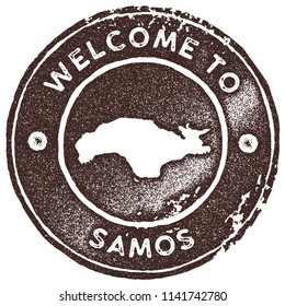 Samos map vintage stamp. Retro style handmade label, badge or element for travel souvenirs. Brown rubber stamp with island map silhouette. Vector illustration.