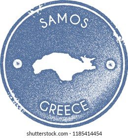 Samos map vintage stamp. Retro style handmade label, badge or element for travel souvenirs. Light blue rubber stamp with island map silhouette. Vector illustration.