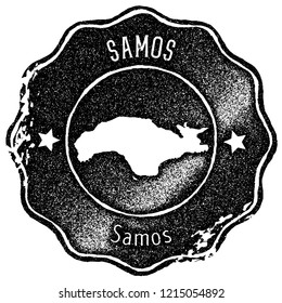 Samos map vintage stamp. Retro style handmade label, badge or element for travel souvenirs. Black rubber stamp with island map silhouette. Vector illustration.