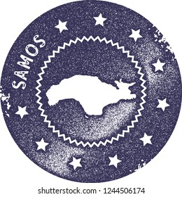 Samos map vintage stamp. Retro style handmade label, badge or element for travel souvenirs. Deep purple rubber stamp with island map silhouette. Vector illustration.
