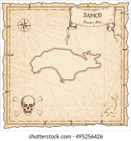 Samos old pirate map. Sepia engraved parchment template of pirate map with Samos outline. Vector stylized pirate map on vintage paper.
