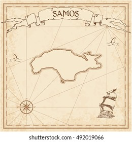 Samos old treasure map. Sepia engraved template of treasure island map parchment. Vector stylized manuscript of treasure island of Samos on vintage paper.