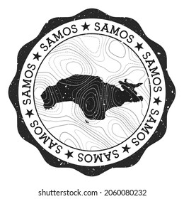 Samos outdoor stamp. Round sticker with map of island with topographic isolines. Vector illustration. Can be used as insignia, logotype, label, sticker or badge of the Samos.