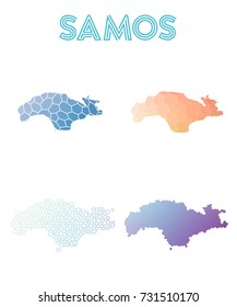 Samos polygonal island map. Mosaic style maps collection. Bright abstract tessellation, geometric, low poly, modern design. Samos polygonal maps for infographics or presentation.
